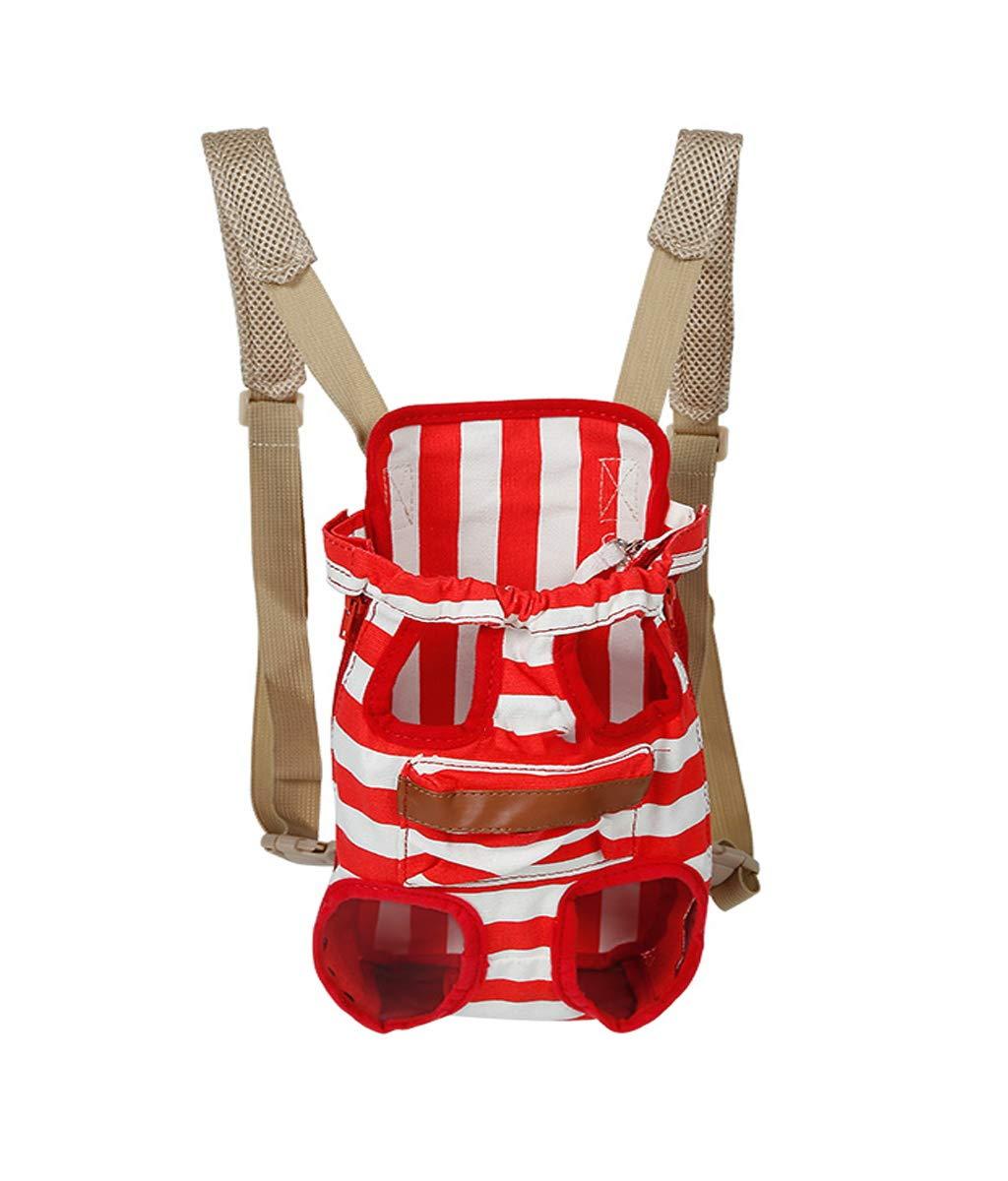 Red SmallPet Backpack Front and Back Comfortable Back and Shoulder Pads Safety Belt with Storage Bag (Red Dark bluee for 2.5Kg7Kg Pet)