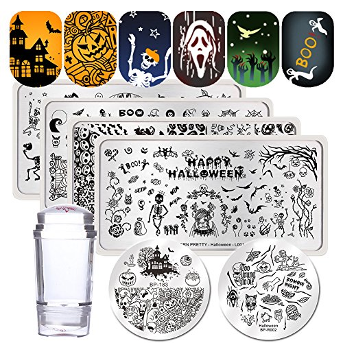 BORN PRETTY Nail Art Stamping Templates Halloween Pumpkin Fairy Skull Ghost 6Pcs Stamp Plates with Stamper Kit]()