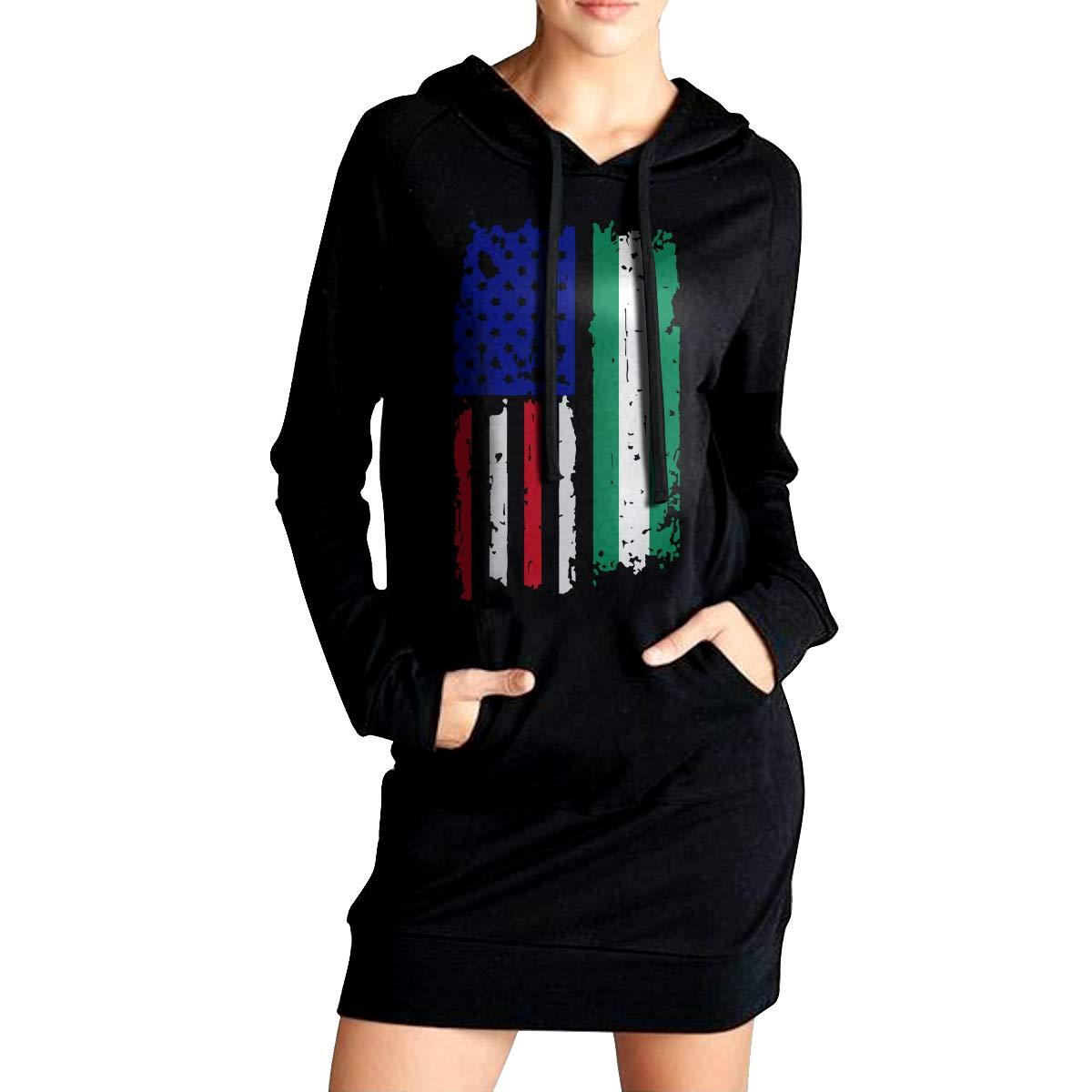 Coat with Pockets NVWEIYIJW Nigerian American USA Flag Pride Womens Slim Fit Sweatshirt Long Hoodies Dress