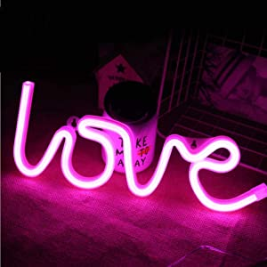 Love Neon Signs Led Neon Light Art Decorative Lights Wall Decor for Children Baby Room Christmas Wedding Party Decoration-Pink Love