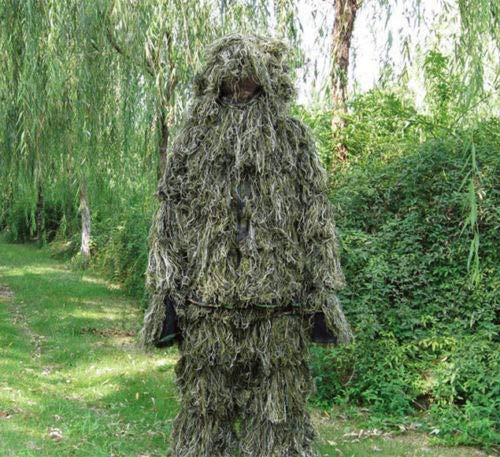 (Complete Camo Woodland Ghillie Suit Sniper Hunting Ghillie Set)