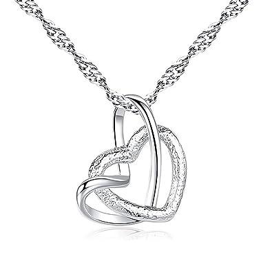 764773f60f2d EROSPA® Damen Hals-Kette mit Herz-Anhänger versilbert Schmuck Halskette  Geschenk