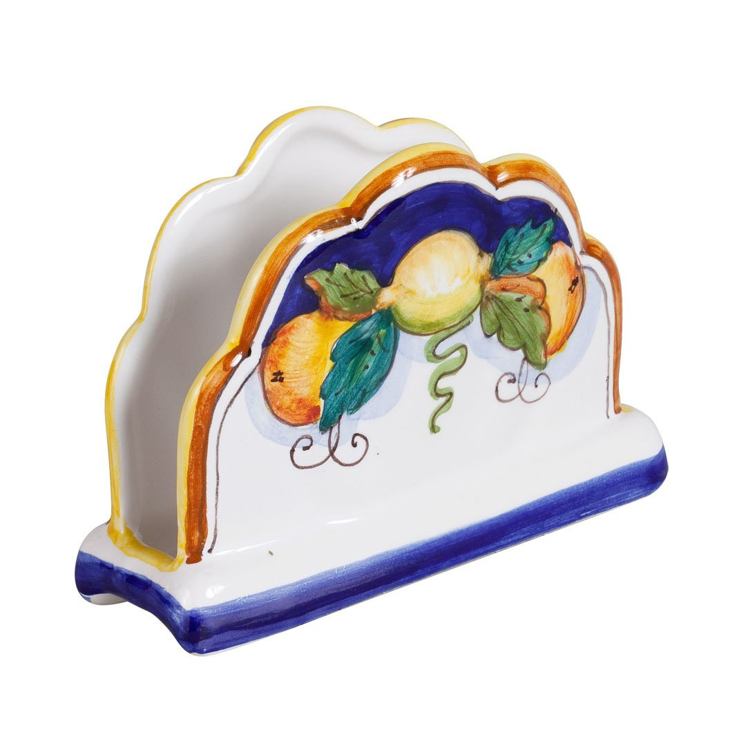 Deruta Hand Painted Daphne Napkin Holder by Italian Pottery Outlet