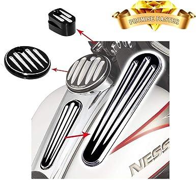 Black w//Gas Cap Senkauto Black Smooth Dash Oil Fuel Console /& Gas Tank Cap Cover For Harley Touring FLHT FLHX 2008-2018