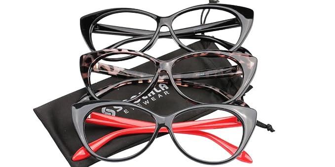 7448748b0bc Amazon.com  SOOLALA 3-Pair Value Pack Fashion Designer Cat Eye Reading  Glasses for Womens (3 Pairs Mixed Colors