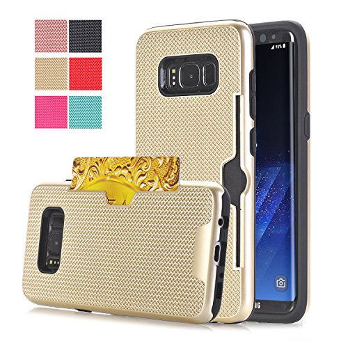 [Galaxy S8 Plus Case,ARSUE Shock Absorbing Grid Dual Layer Wallet Design with Credit Card Holder Slot Case Cover for Samsung Galaxy S8 Plus - Gold] (Peacock Gold Feather Pad)