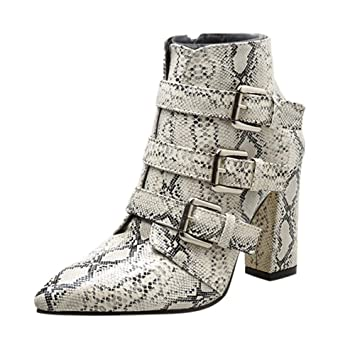 1831e6a3d86 Sale! Teresamoon Women Snakeskin Pattern Toe Zip Belt Buckle Thick Pointed  Booties Shoes Boots