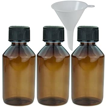 Viva-Haushaltswaren – 3 x Marrón Laboratorio Botella 150 ml botella de plástico (Pet