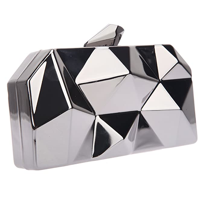 Bonjanvye Polygon Abstract Hard Case Clutch Evening Bags with Chain for Women Gray WYxRHZsIbR