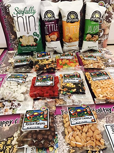 Non GMO Healthy Snacks Rocky Mountain Jalapeno Kettle Butter Sinfully Herb & Spice Blue Corn PopCorn Care Package for College, Military, Hospital, Office Variety Candies Trail Mix Chocolate (Popcorn Trail Mix)