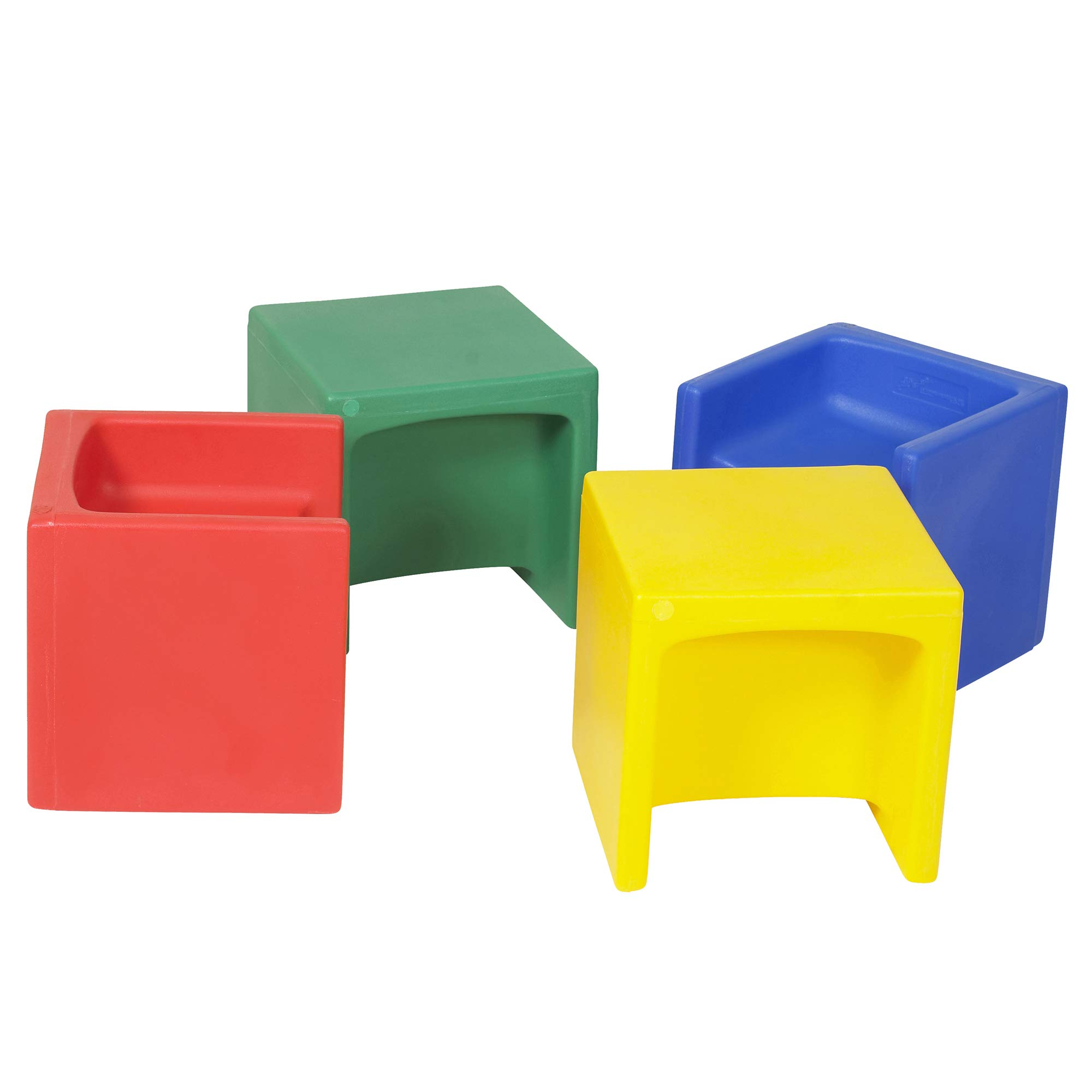 Children's Factory Cube Chairs, 15'' by 15'' by 15'' (Set of 4) - Bright Primary Colors - Versatile - Use as a Low or High Chair, Table and Adult Seat - Durable and Lightweight - Indoor or Outdoor Use by Children's Factory