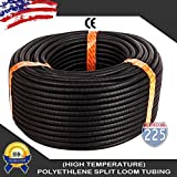 225FWY 100 Ft 1/8 3mm Split Wire Loom Conduit Polyethylene Tubing Black Color Sleeve Tube