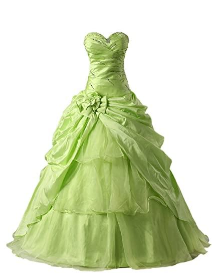 Dresstells Womens Sweetheart Satin Prom Dress Costume Dress for Girls with Flower Green Size 6