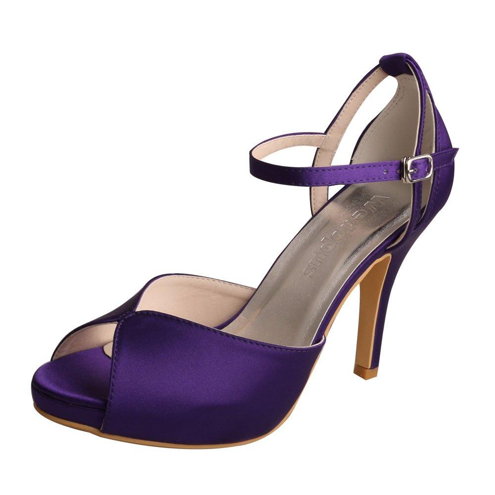 Wedopus MW661 Women's Peep Toe High Heels Platform Buckles Purple Satin Evening Party Prom Sandals B0776SB244 5 B(M) US|Purple