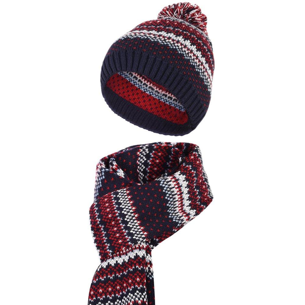 Vbiger Wintermütze klassische Beanie Mütze Damen Mütze und Schal Warm Strickmütze und Strickschal 2 PCS, Mehrfarbig, Einheitsgröße