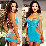 Babydoll Sexy Lingerie Women Sexy Lace Baby Doll Sexy Chemise Sleepwear for Women Erotic Lingerie Plus Size - Blue Color