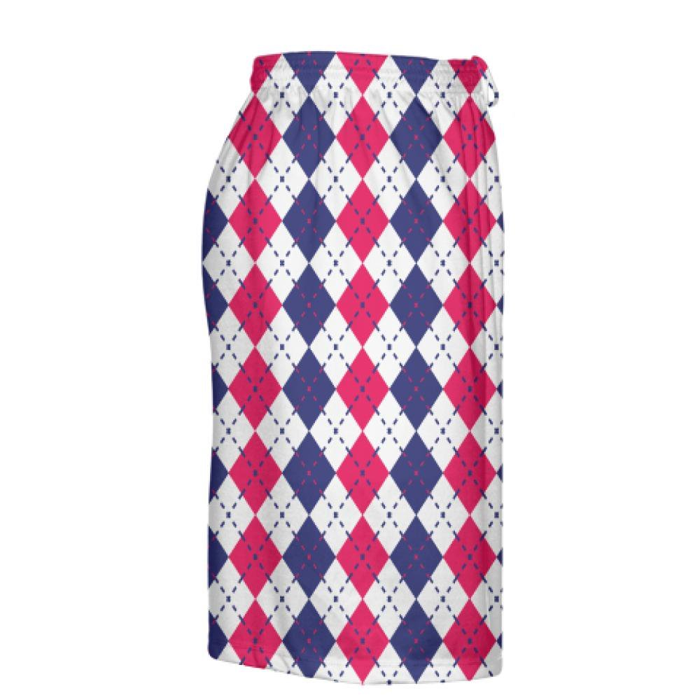 Navy Blue Red and White Argyle Lacrosse Shorts