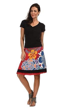 Coton du Monde - Falda LUCY - Mujer - T44 - Rojo: Amazon.es: Ropa ...