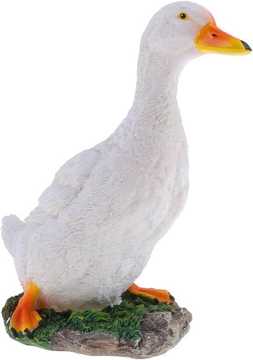 Bianco M F Fityle Artificiale Anatra Animale Fattoria Ornamento Giardino Resina