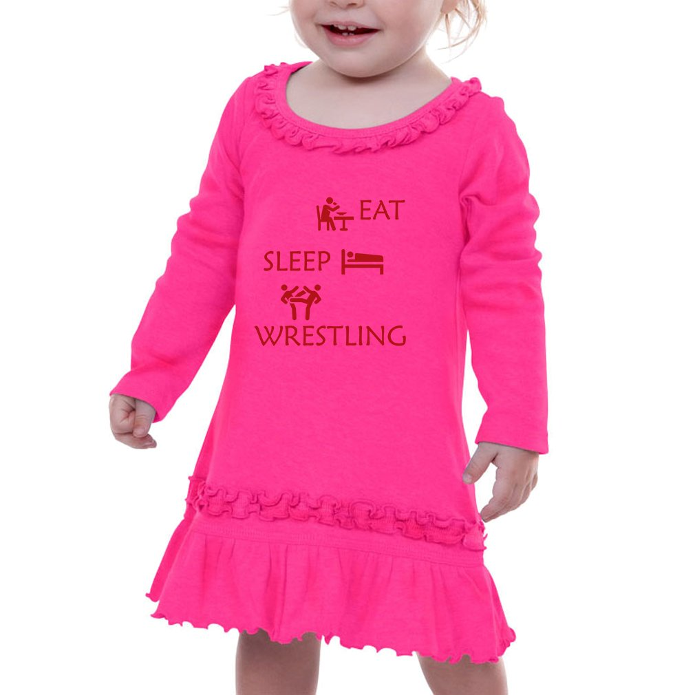 Eat Sleep Wrestling Infants Sunflower Long Sleeve Dress Hot Pink 24 Months
