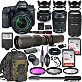 Canon EOS 6D Mark II DSLR Camera w/24-105mm STM Lens Bundle + Canon EF 75-300mm III Lens, Canon 50mm f/1.8 and 500mm Preset Lens + Canon Backpack + 64GB Memory + Monopod + Professional Bundle