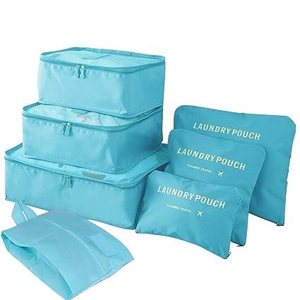 7 bolsas para ropa viaje | 7 pcs cubos de embalaje | bolsas organizadoras de viaje|organizador ropa maleta | color Azul