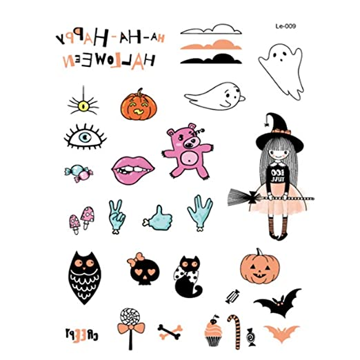 BingWS 100PCS Halloween Luminous Tattoo Ghost Taty for niños Falso ...