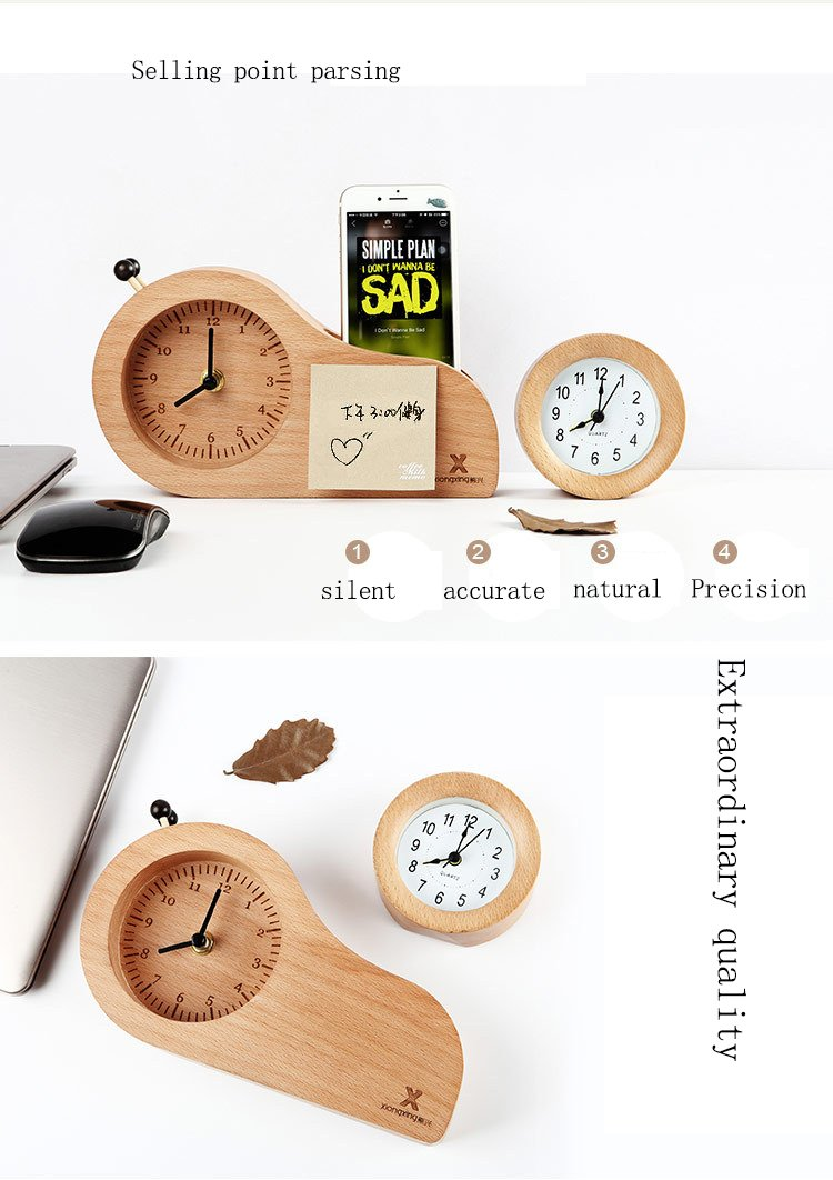 JPJING Reloj Despertador De Madera Creatividad Sencillo ...