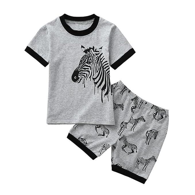 Amazon.com: lurryly 2pcs bebé pijama estampado de cebra de ...