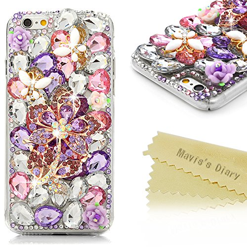 Full Bling Purple Flowers - iPhone 6S Case,iPhone 6 Case (4.7 Inch) - Mavis's Diary 3D Handmade Luxury Bling Crystal Purple Flower with White Butterfly Colorful Diamond Gems Design [Full Edge Protection] Clear Case Hard PC Cover