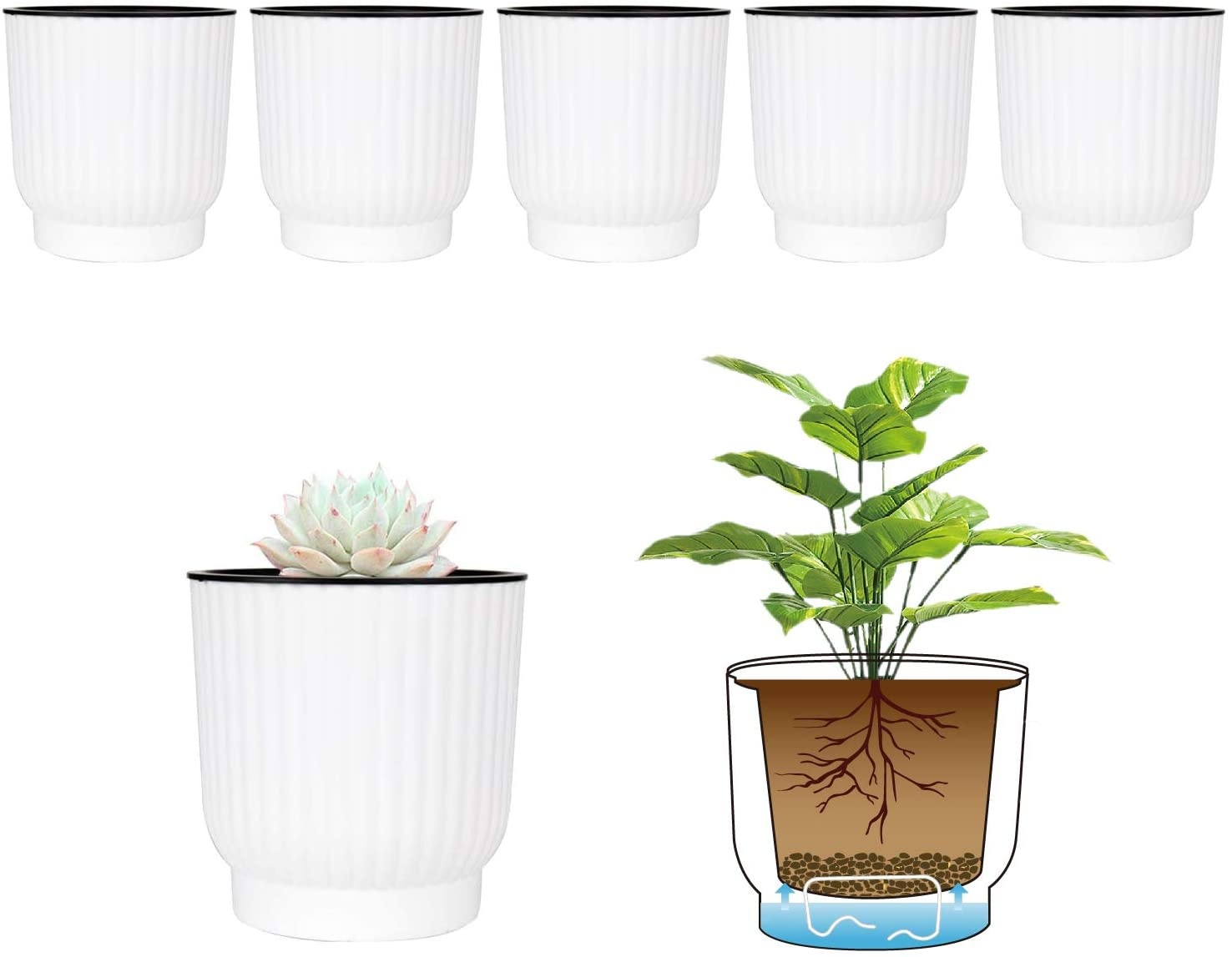T4U 4.5 Inch Self Watering Pots for Indoor Plants, 6 Pack White Plastic Flower Pots for All House Plants, Flowers, African Violets