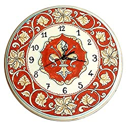 CERAMICHE D'ARTE PARRINI - Italian Ceramic Wall Round Clock Art Pottery Paint Lily Made in ITALY Tuscan