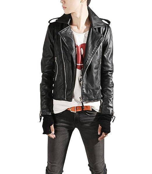 Chaqueta vintage para hombre de cuero PU chaqueta de motociclista cazadora manga larga: Amazon.es: Ropa y accesorios