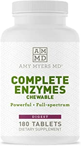 Dr Amy Myers Digestive Enzymes Chewable – Complete Enzymes Support Leaky Gut, Acid Reflux, Gas, Bloating, Gluten Exposure – Amylase, Lipase, Lactase, Alkaline, Protease, Sucrase + More – 180 Tablets