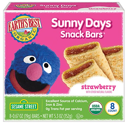 Earth's Best Organic Sesame Street Sunny Day Toddler Snack Bars with Cereal Crust, Strawberries, 8 Count Box (Pack of ()