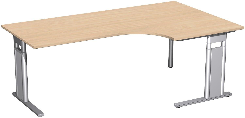 Geramöbel PC-Schreibtisch rechts höhenverstellbar, C Fuß Blende optional, 2000x1200x680-820, Buche/Silber