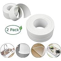 Caulk Strip, Sealant Tape Self-Adhesive, PE mildewproof Waterproof Sealing Tape, for Bathroom/Kitchen/Toilet/Wall Corner-White(2Pack)