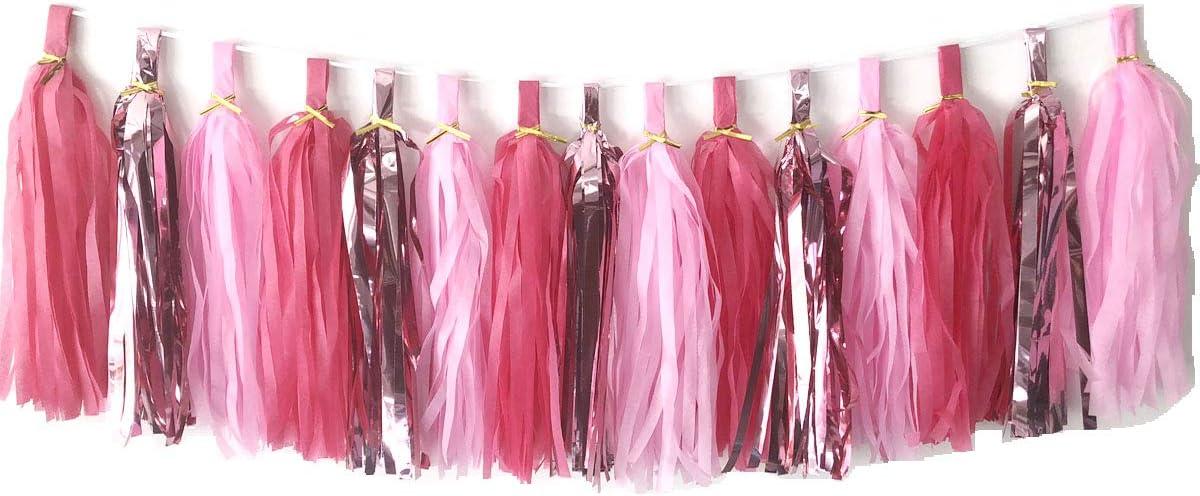 Tissue Paper Tassels Paper Tassels Garland Banner Table Decor Party Tassels Banner Wedding Birthday Baby Shower Nursey Party Decorations Supplies (15, Rose Gold+Pink+Rose Red)