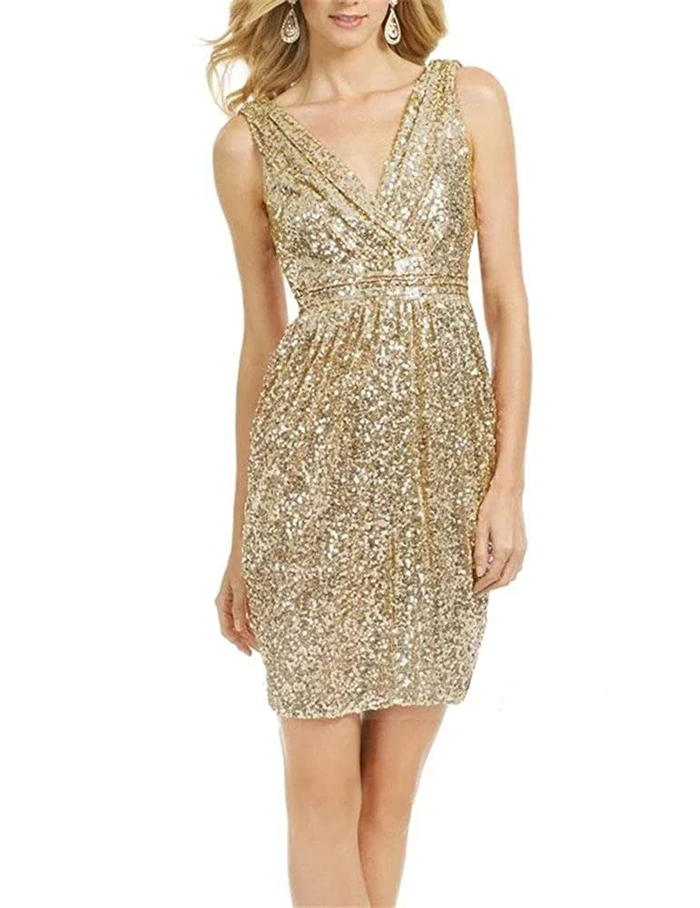 601 Champagne Lanier gold Sequins Bridesmaid Dresses Formal Evening Gowns