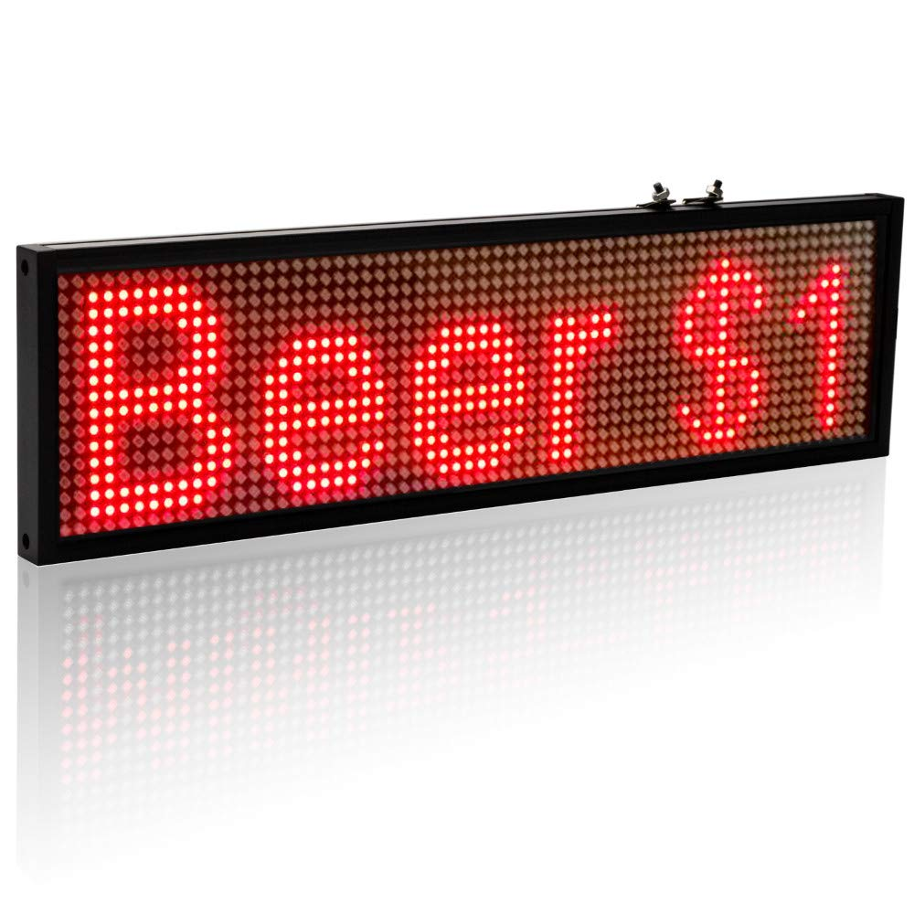 Technoto APP WiFi Scrolling LED Sign Display Board for Business,Car Window Working with Smartphone and Tablet P-5 Red Color