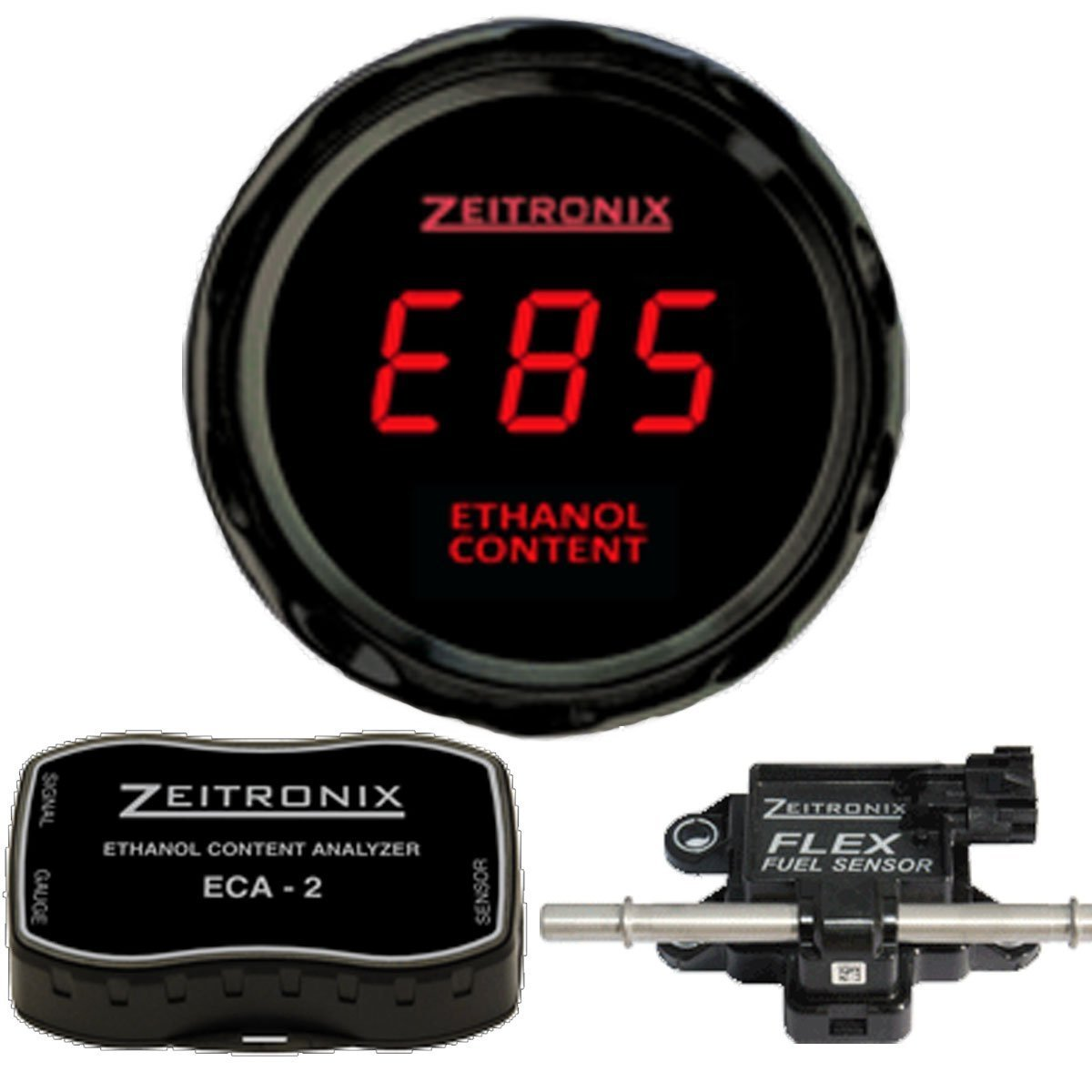 Zeitronix ECA-2 Ethanol E% Content Analyzer Kit with Red Display Gauge