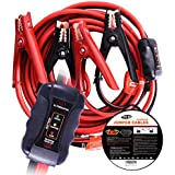 TOPDC Smart Battery Jumper Cables 4 Gauge 20 Feet Heavy Duty Booster Cables with Reverse Hook Up and Alternator Indicator, Battery Condition Tester (4AWG x 20Ft)
