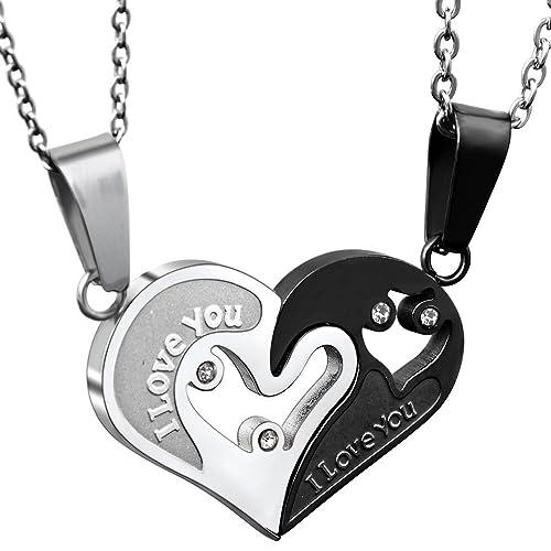 JewelryWe 2 Piezas Collares de Hombre Mujer, Acero ...