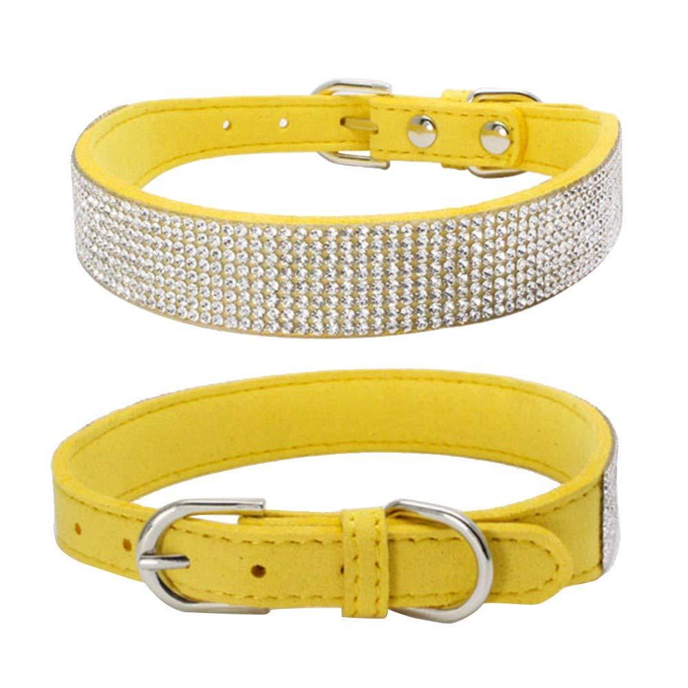 Gusspower Bling de Cuero del Rhinestone Lleno de Mascotas de la PU del Diamante para el Gato Perro Perrito Collares Ajustable 15-56cm