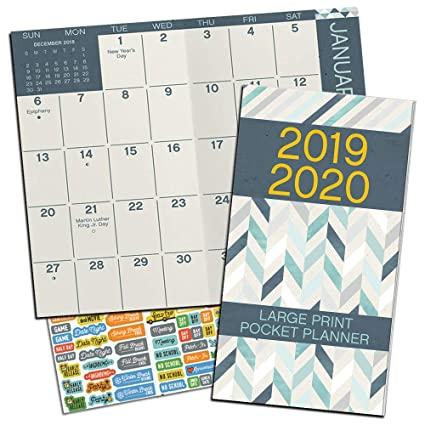 Large Print Monthly Pocket Planner 2019-2020 with DateWorks Calendar Stickers (Two Year Large Print Planner Calendar Set)