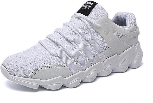 Zapatillas Running Sneakers Hombre Casual Calzado Deportivo Zapatos Negro Blanco 39-45 Blanco 46: Amazon.es ...
