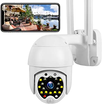 Opinión sobre Cámara WiFi Exterior, Cámara PTZ Vigilancia Exterior IP Visión Nocturna Detección de Movimiento Sonido y Luz Advertencia Monitorización Remota vía Smartphone/Tableta