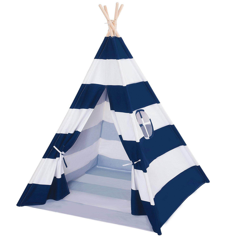 Kinder zimmer dekoration Weihnachts Indische Baumwolle Tipi Spielzelt für Kinder (Blau Gestreift mit Unterseite)