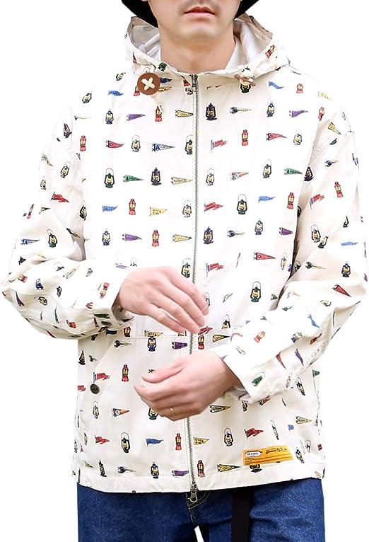 (ジーアールエヌ) grn メンズ 綿100% 総柄 プリント ショート丈 長袖 ハイネック フード パーカー ジャケット