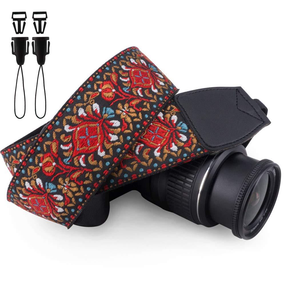 Wolven Vintage Jacquard Weave Camera Neck Shoulder Strap Belt Compatible for All DSLR/SLR/Digital Camera (DC)/Instant Camera/Polaroid etc, Red Classic Floral by Wolven